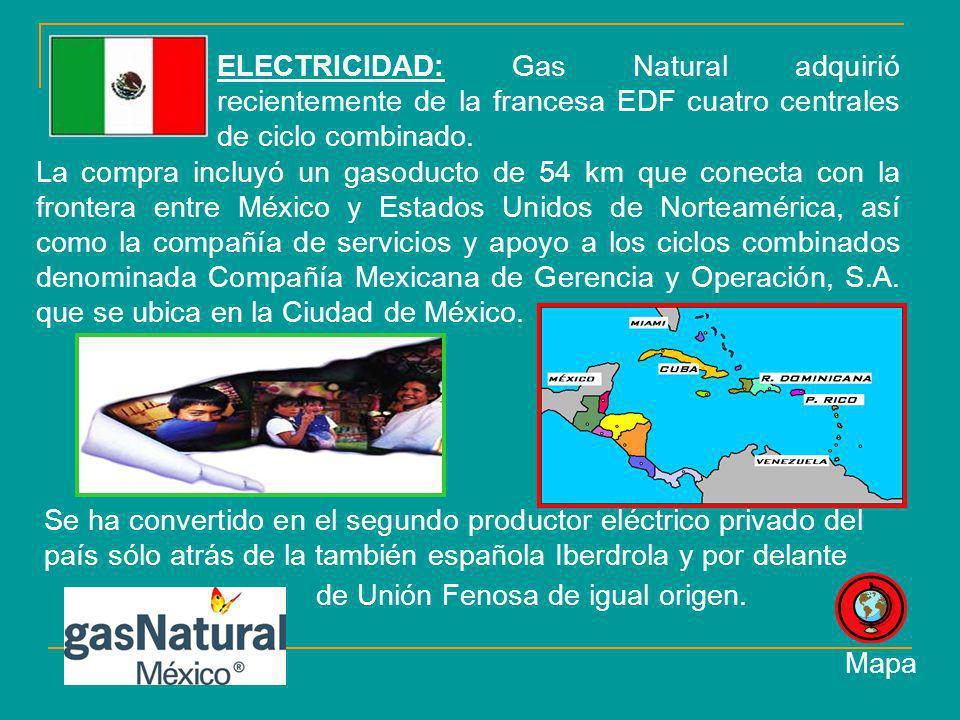 ELECTRICIDAD: Gas Natural adquirió recientemente de la francesa EDF cuatro centrales de ciclo combinado.