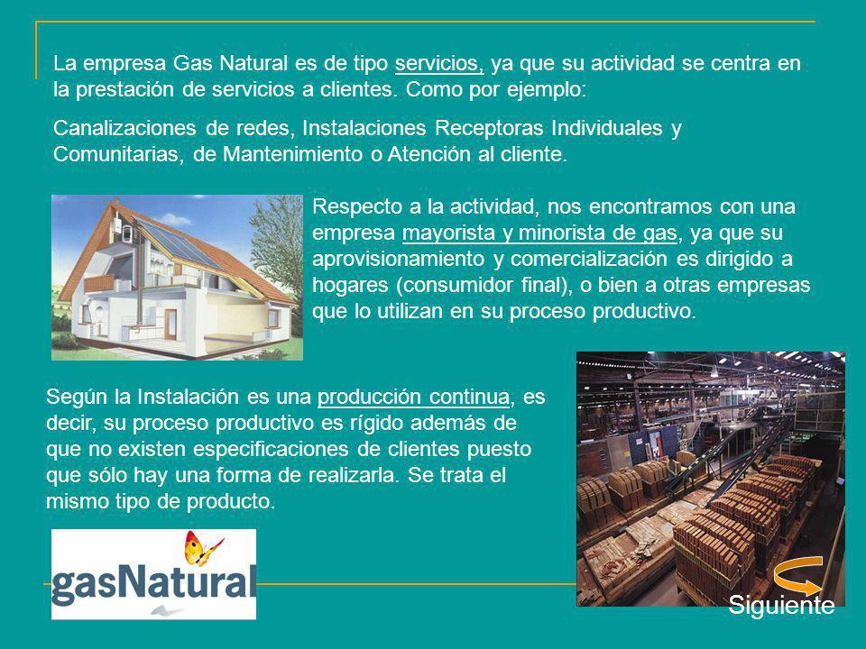 La empresa Gas Natural es de tipo servicios, ya que su actividad se centra en la prestación de servicios a clientes. Como por ejemplo: