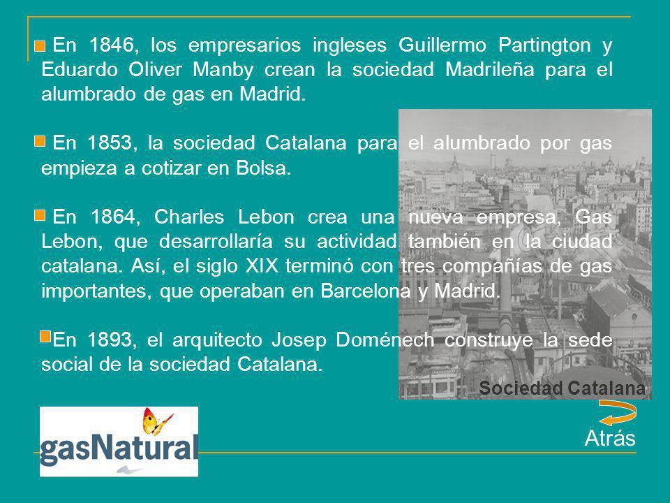 En 1846, los empresarios ingleses Guillermo Partington y Eduardo Oliver Manby crean la sociedad Madrileña para el alumbrado de gas en Madrid.