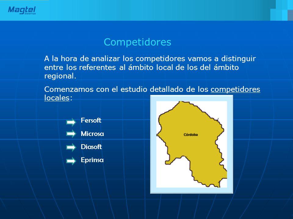 Competidores A la hora de analizar los competidores vamos a distinguir entre los referentes al ámbito local de los del ámbito regional.