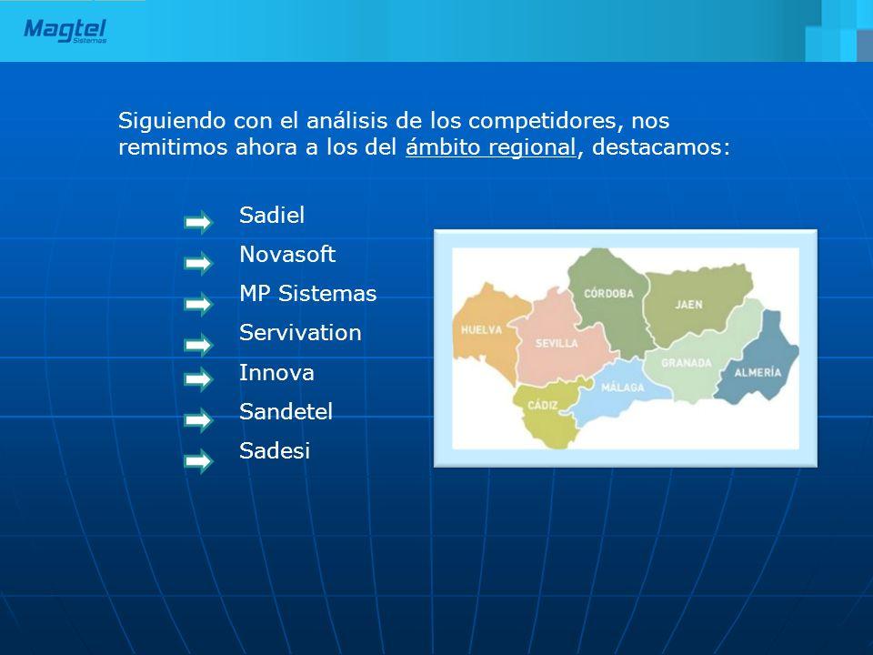 Siguiendo con el análisis de los competidores, nos remitimos ahora a los del ámbito regional, destacamos: