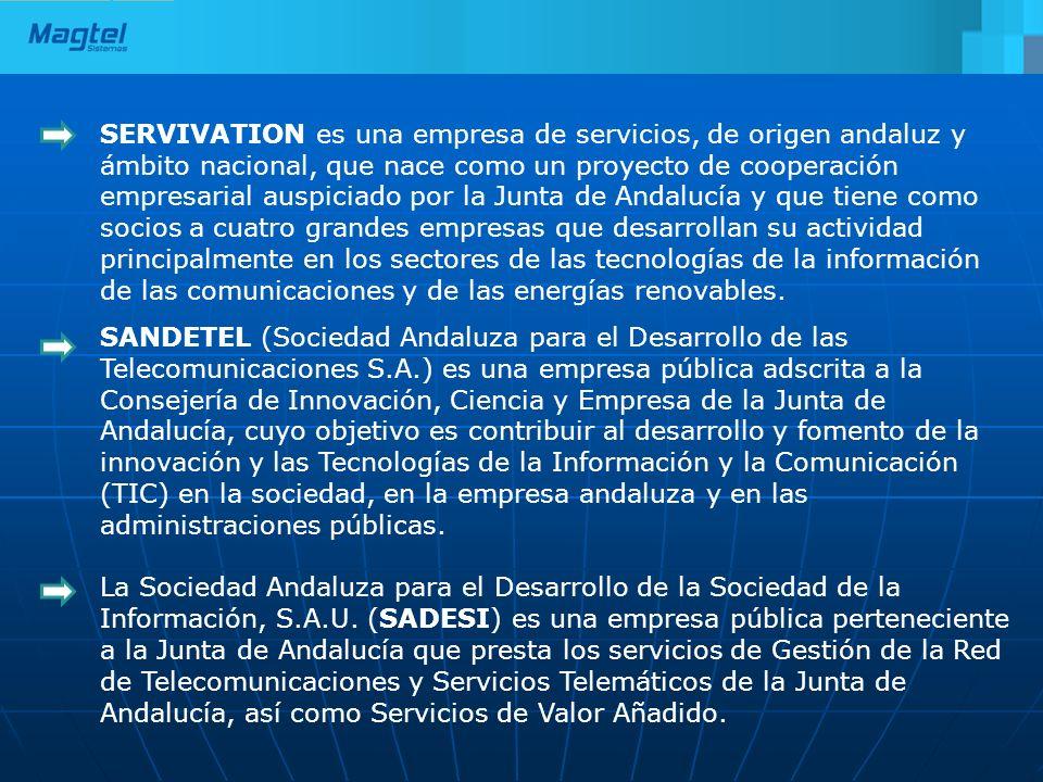 SERVIVATION es una empresa de servicios, de origen andaluz y ámbito nacional, que nace como un proyecto de cooperación empresarial auspiciado por la Junta de Andalucía y que tiene como socios a cuatro grandes empresas que desarrollan su actividad principalmente en los sectores de las tecnologías de la información de las comunicaciones y de las energías renovables.
