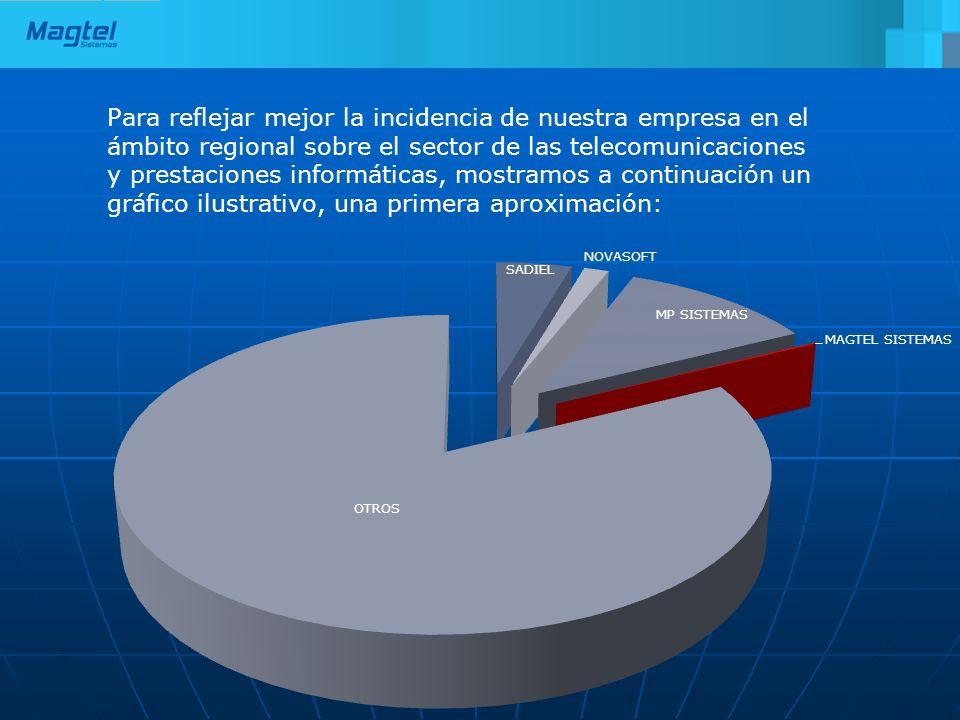 Para reflejar mejor la incidencia de nuestra empresa en el ámbito regional sobre el sector de las telecomunicaciones y prestaciones informáticas, mostramos a continuación un gráfico ilustrativo, una primera aproximación:
