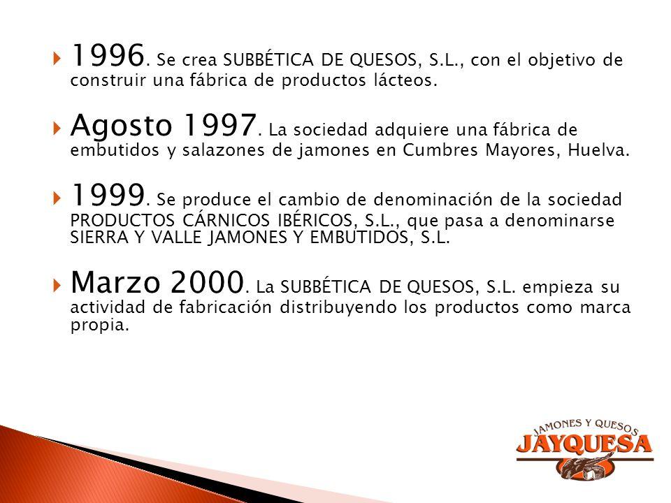 1996. Se crea SUBBÉTICA DE QUESOS, S. L