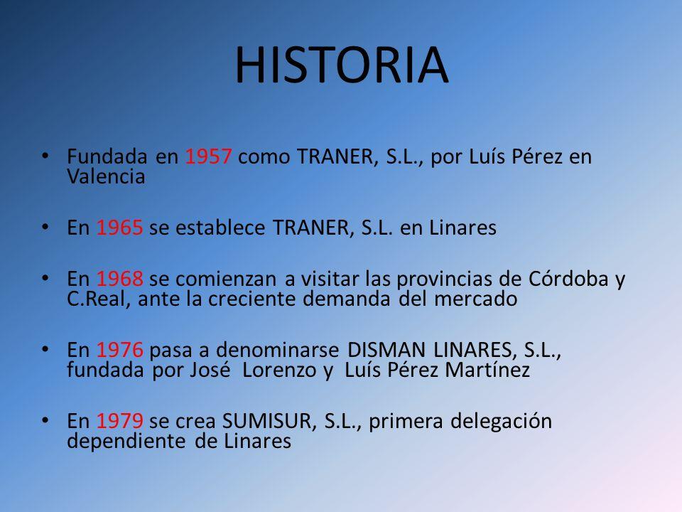 HISTORIA Fundada en 1957 como TRANER, S.L., por Luís Pérez en Valencia