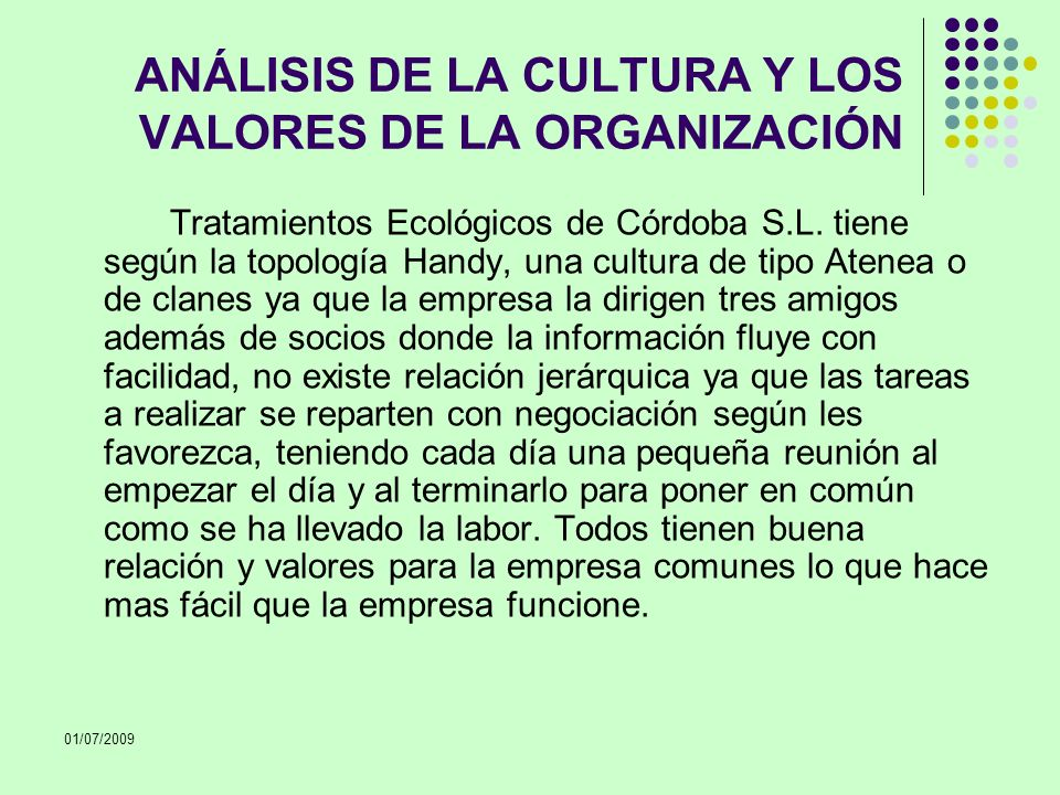 ANÁLISIS DE LA CULTURA Y LOS VALORES DE LA ORGANIZACIÓN