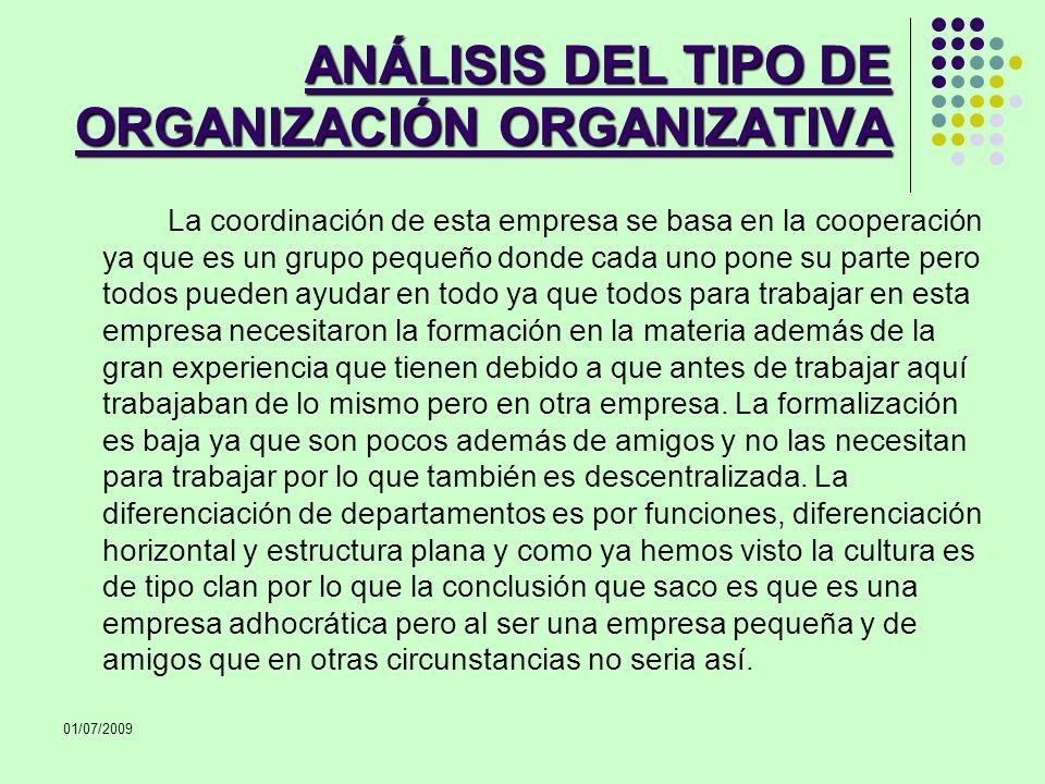 ANÁLISIS DEL TIPO DE ORGANIZACIÓN ORGANIZATIVA