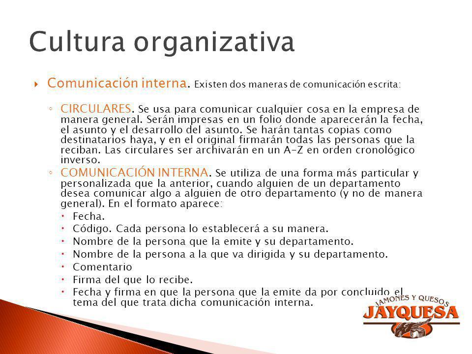Cultura organizativa Comunicación interna. Existen dos maneras de comunicación escrita: