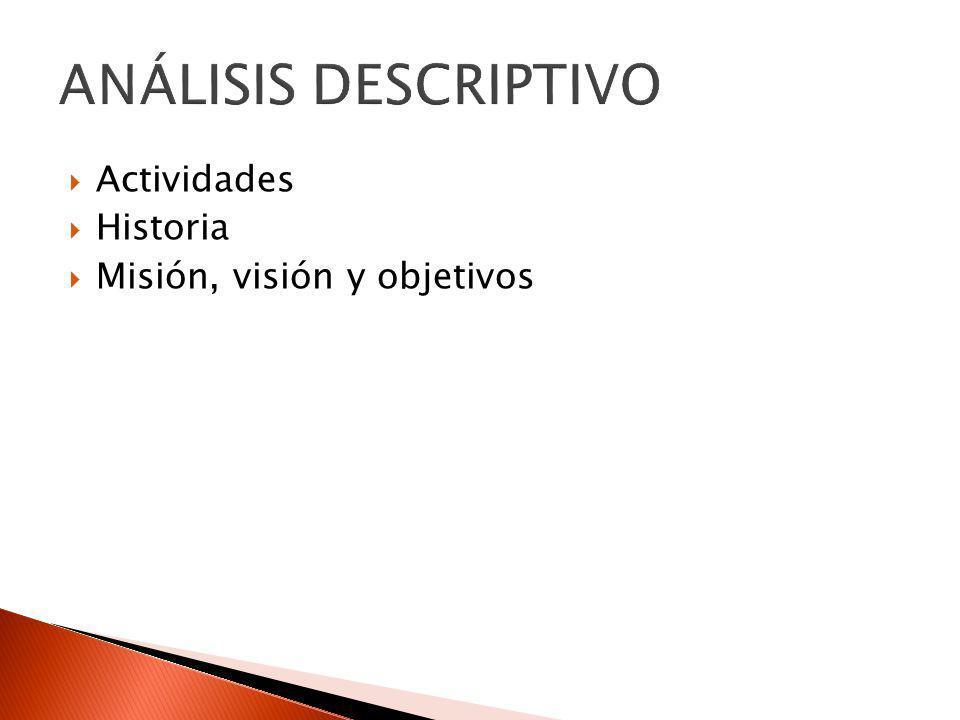 ANÁLISIS DESCRIPTIVO Actividades Historia Misión, visión y objetivos