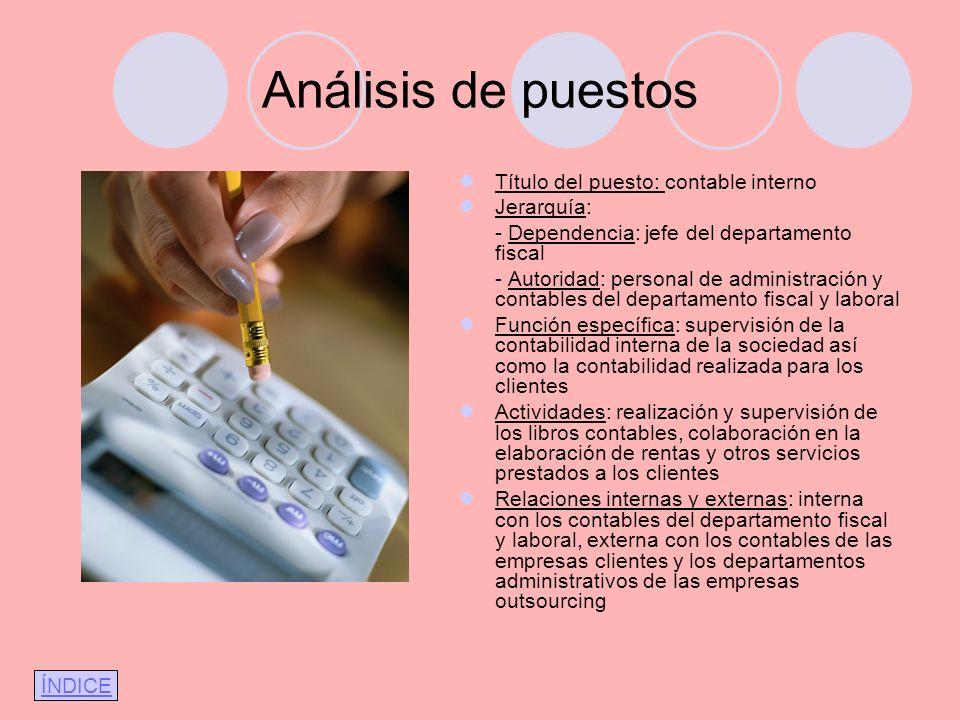Análisis de puestos Título del puesto: contable interno Jerarquía: