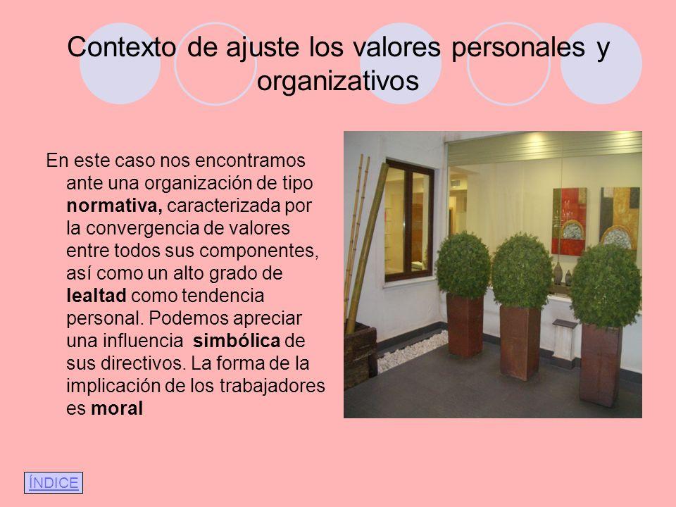 Contexto de ajuste los valores personales y organizativos