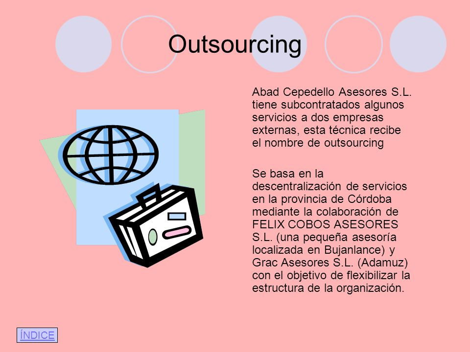 Outsourcing Abad Cepedello Asesores S.L. tiene subcontratados algunos servicios a dos empresas externas, esta técnica recibe el nombre de outsourcing.