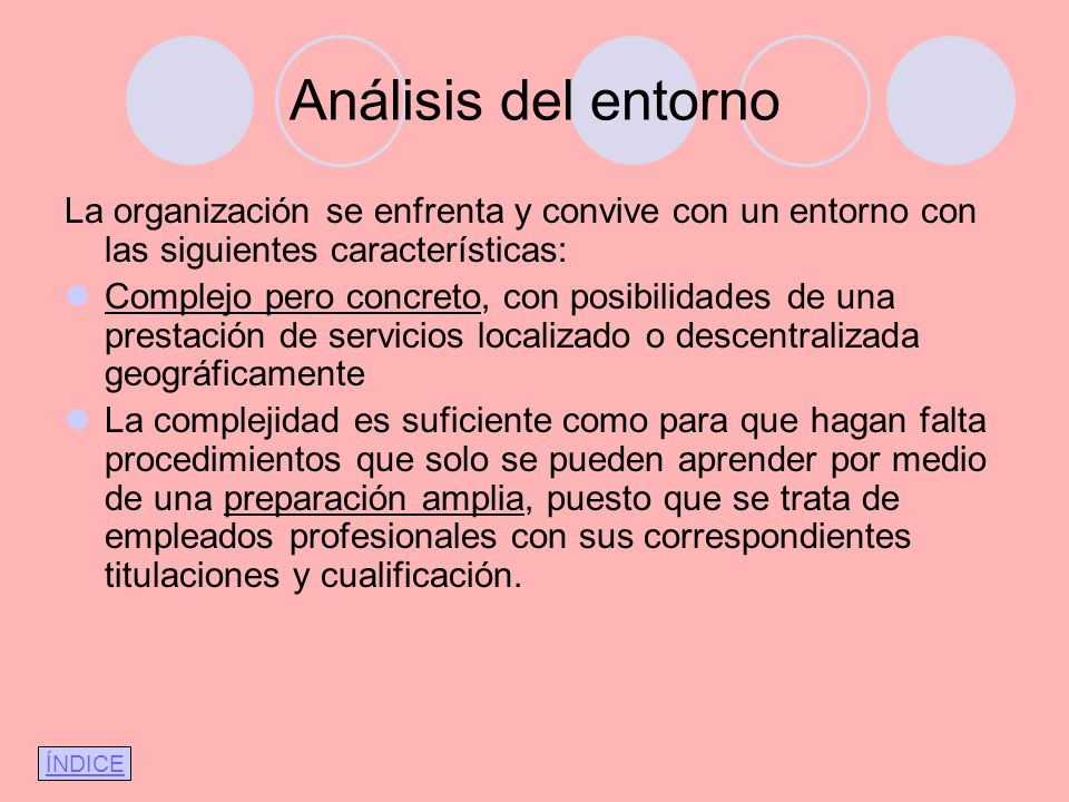 Análisis del entornoLa organización se enfrenta y convive con un entorno con las siguientes características: