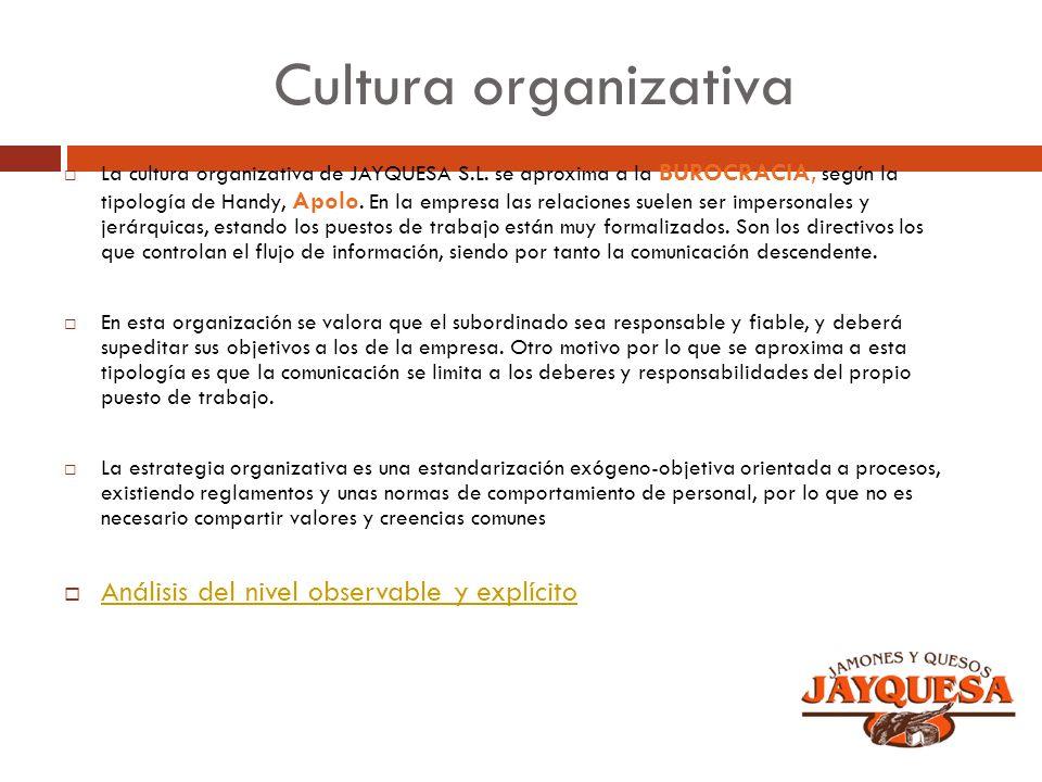 Cultura organizativa Análisis del nivel observable y explícito