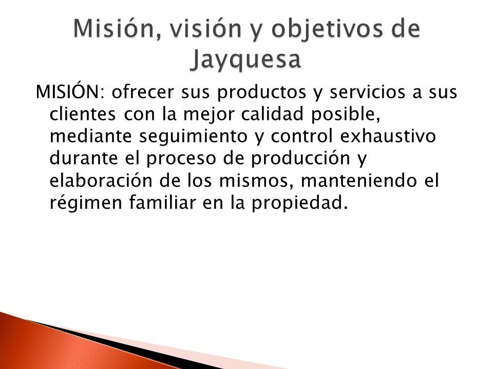 Misión, visión y objetivos de Jayquesa