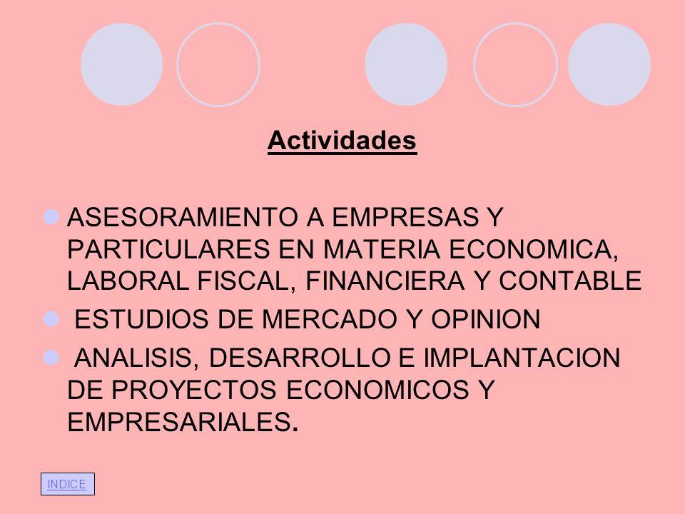 ActividadesASESORAMIENTO A EMPRESAS Y PARTICULARES EN MATERIA ECONOMICA, LABORAL FISCAL, FINANCIERA Y CONTABLE.