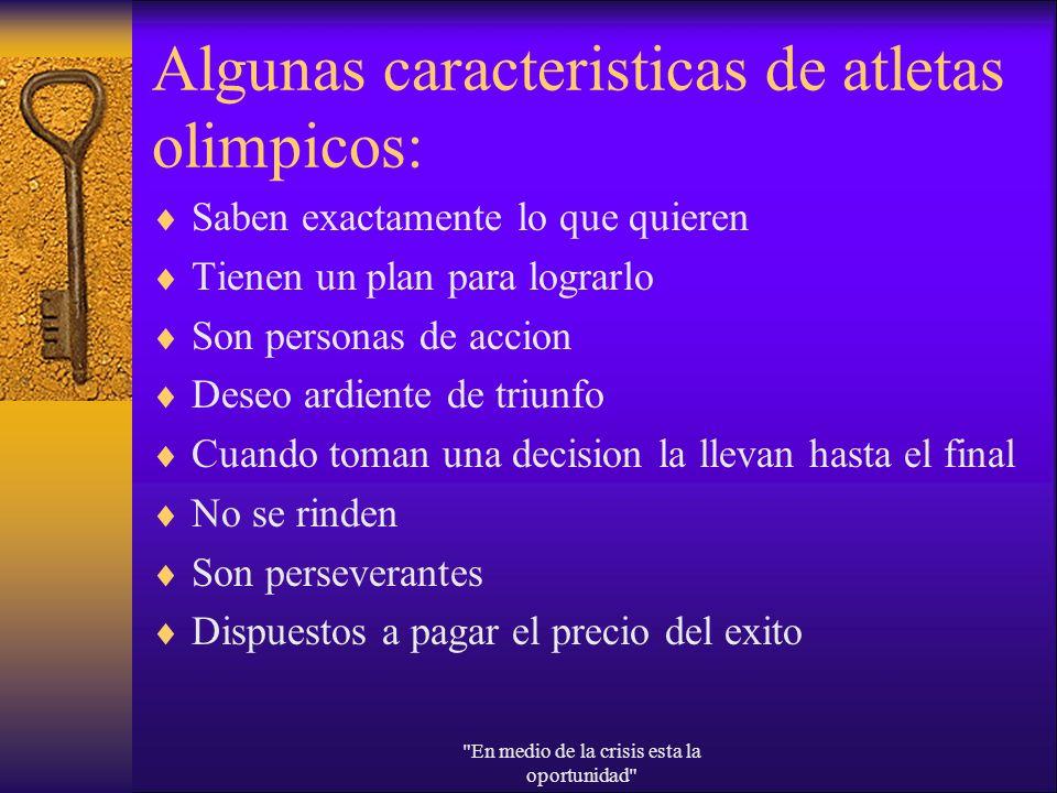 Algunas caracteristicas de atletas olimpicos: