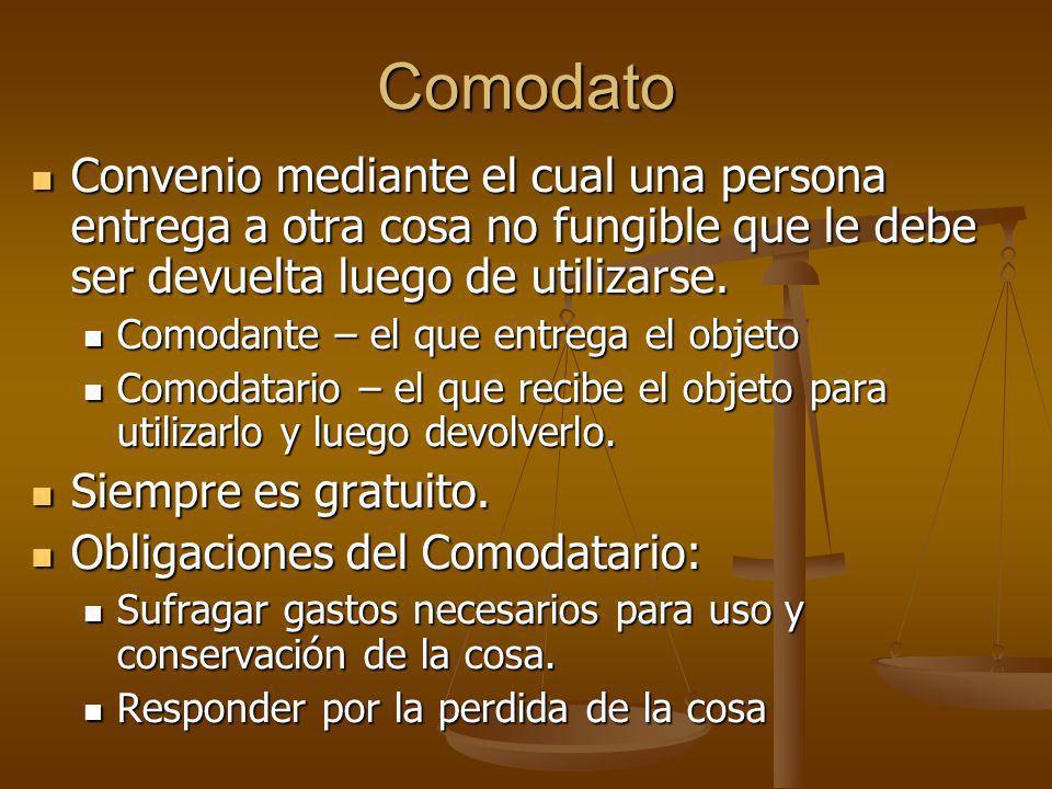 ComodatoConvenio mediante el cual una persona entrega a otra cosa no fungible que le debe ser devuelta luego de utilizarse.