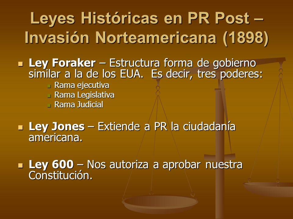 Leyes Históricas en PR Post – Invasión Norteamericana (1898)