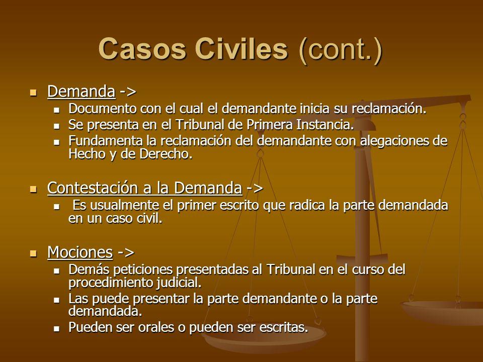 Casos Civiles (cont.) Demanda -> Contestación a la Demanda ->