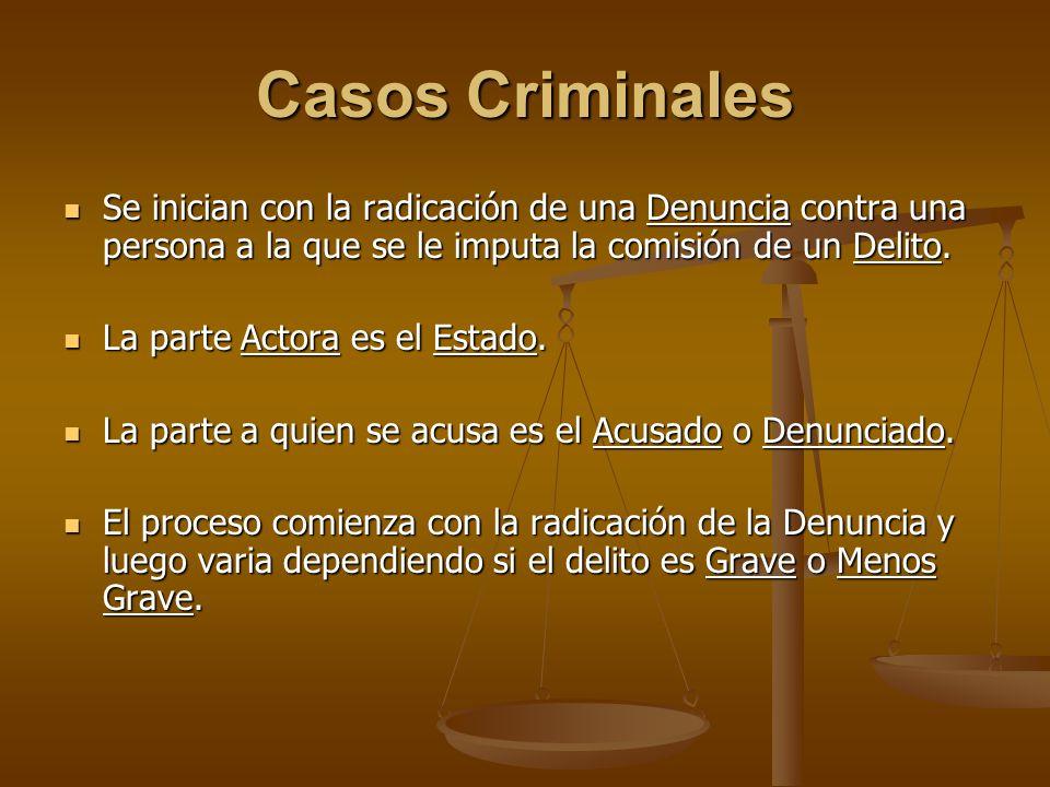 Casos Criminales Se inician con la radicación de una Denuncia contra una persona a la que se le imputa la comisión de un Delito.