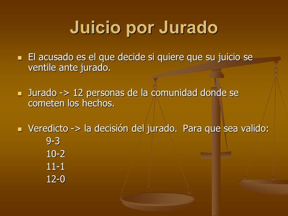 Juicio por Jurado El acusado es el que decide si quiere que su juicio se ventile ante jurado.