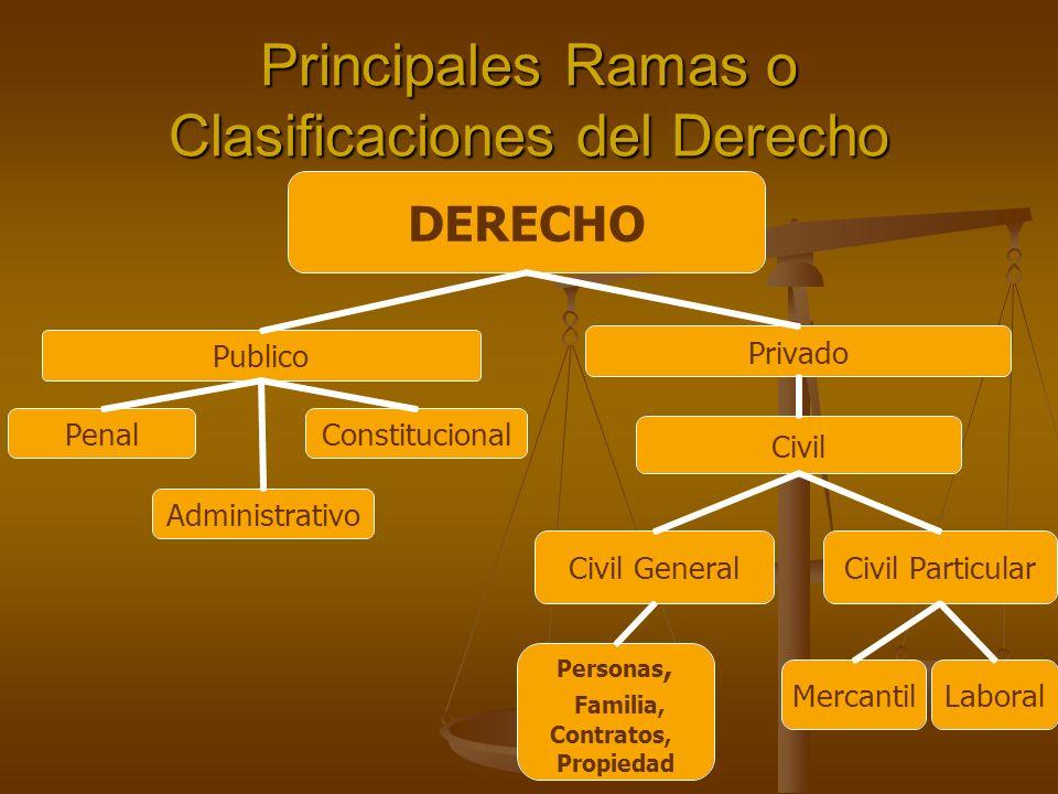 Principales Ramas o Clasificaciones del Derecho