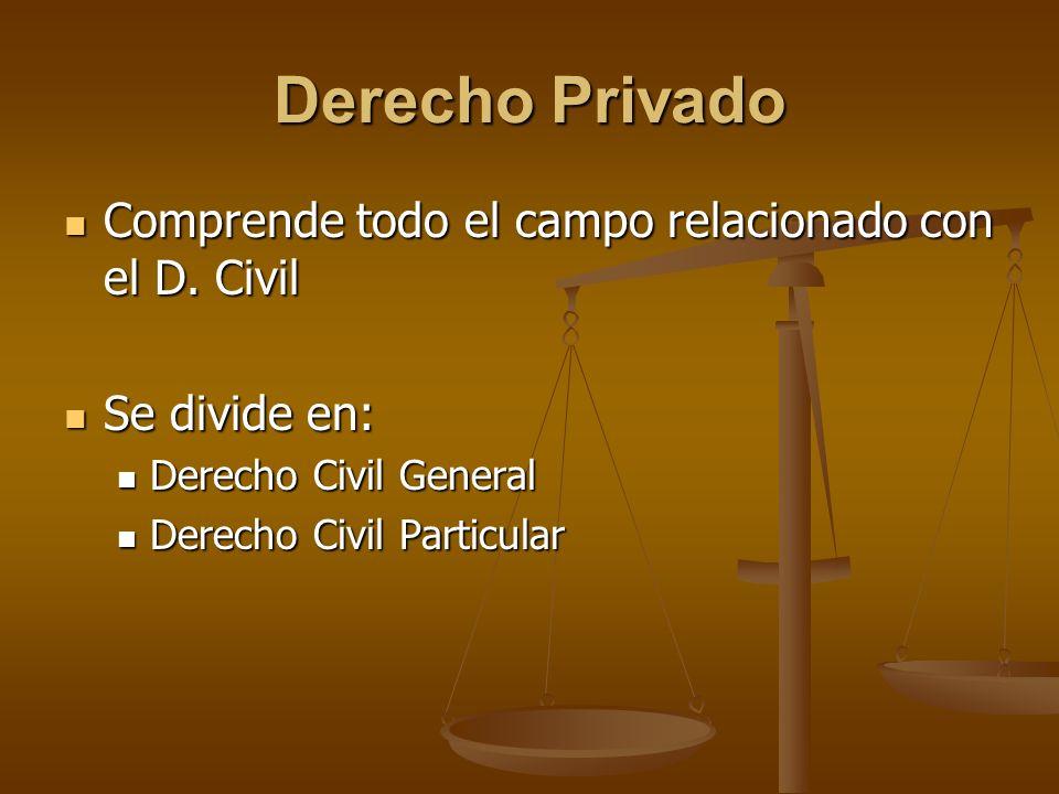 Derecho Privado Comprende todo el campo relacionado con el D. Civil