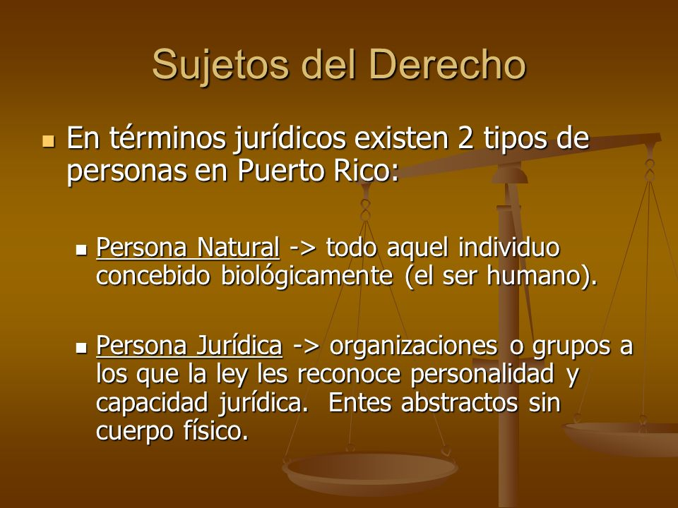 Sujetos del Derecho En términos jurídicos existen 2 tipos de personas en Puerto Rico: