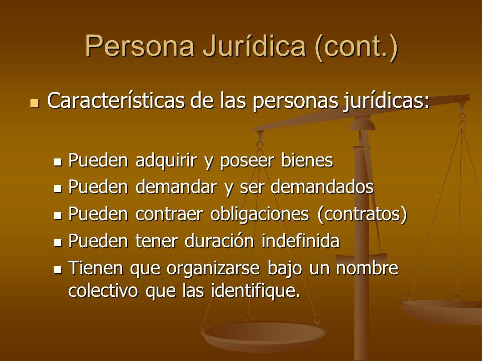 Persona Jurídica (cont.)