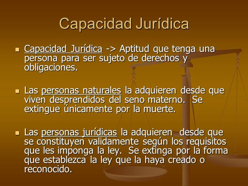 Capacidad Jurídica Capacidad Jurídica -> Aptitud que tenga una persona para ser sujeto de derechos y obligaciones.