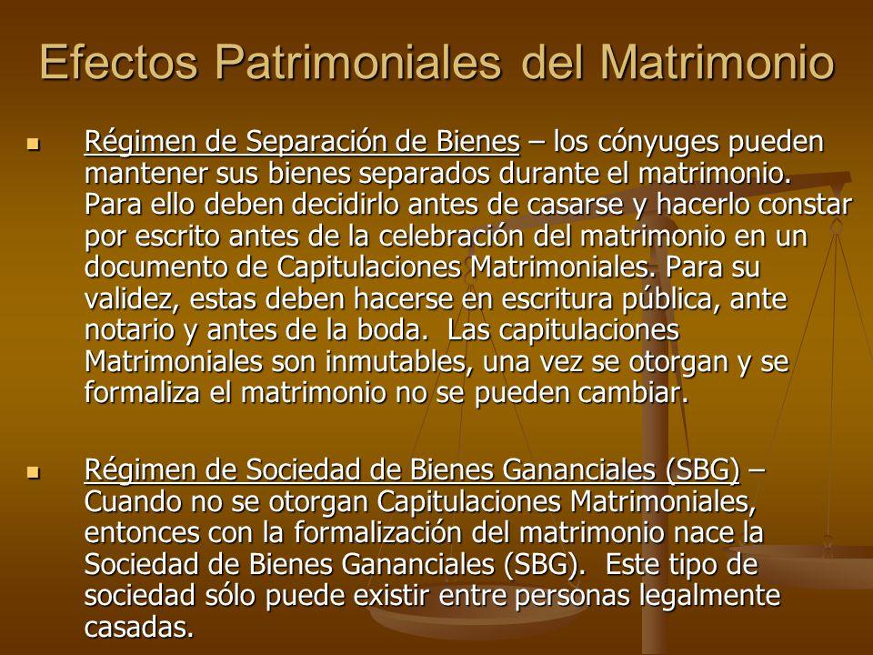 Efectos Patrimoniales del Matrimonio