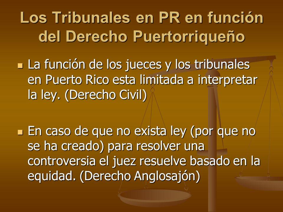 Los Tribunales en PR en función del Derecho Puertorriqueño