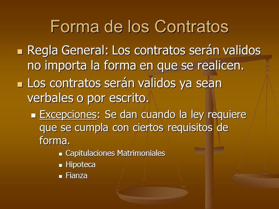 Forma de los Contratos Regla General: Los contratos serán validos no importa la forma en que se realicen.