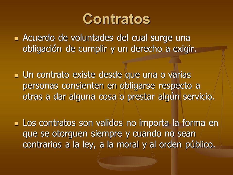 Contratos Acuerdo de voluntades del cual surge una obligación de cumplir y un derecho a exigir.