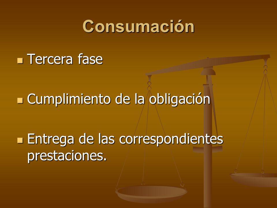 Consumación Tercera fase Cumplimiento de la obligación