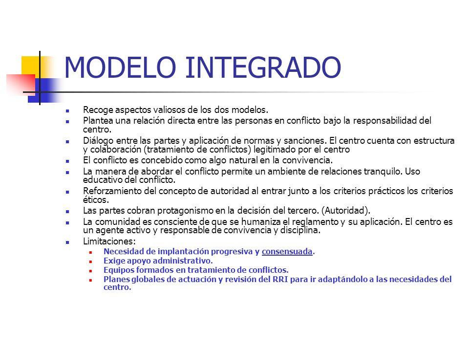 MODELO INTEGRADO Recoge aspectos valiosos de los dos modelos.