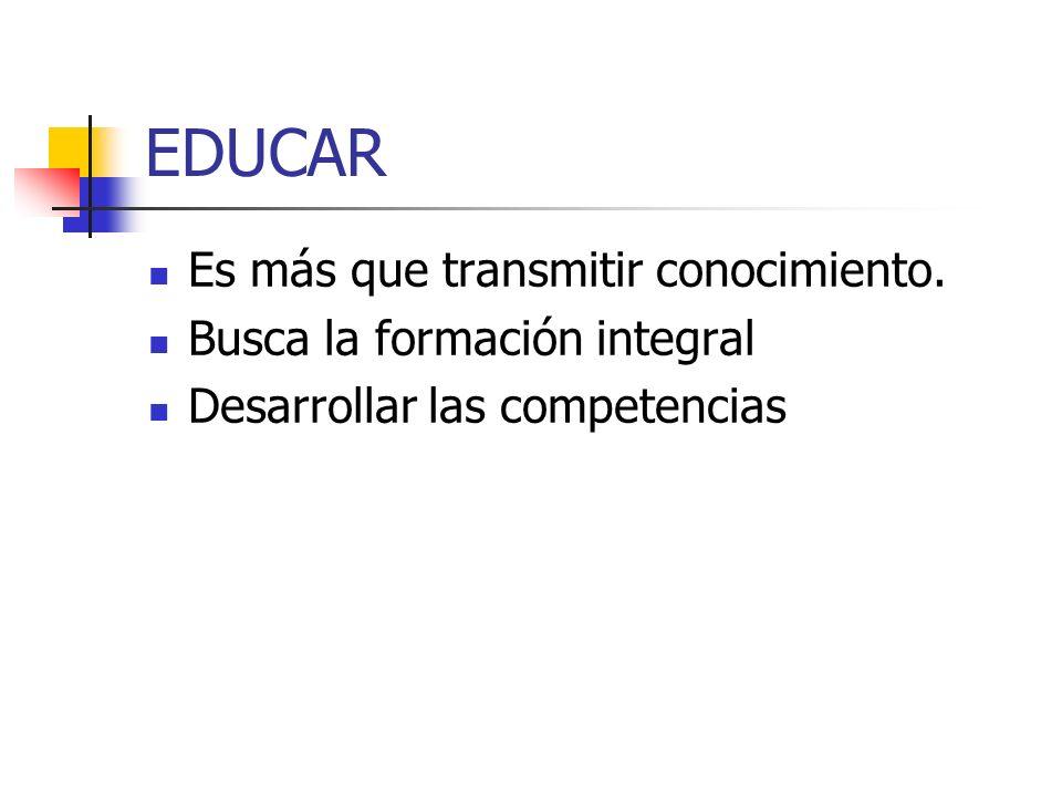 EDUCAR Es más que transmitir conocimiento. Busca la formación integral