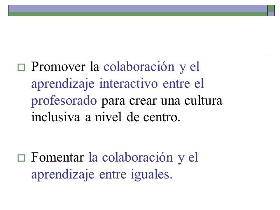 Promover la colaboración y el aprendizaje interactivo entre el profesorado para crear una cultura inclusiva a nivel de centro.