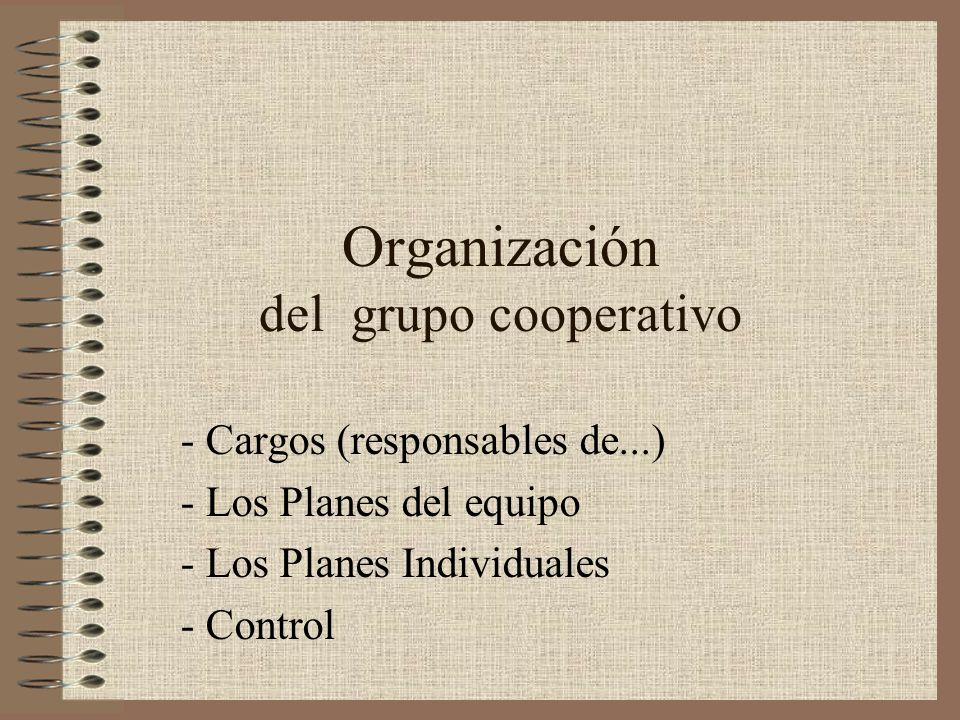 Organización del grupo cooperativo
