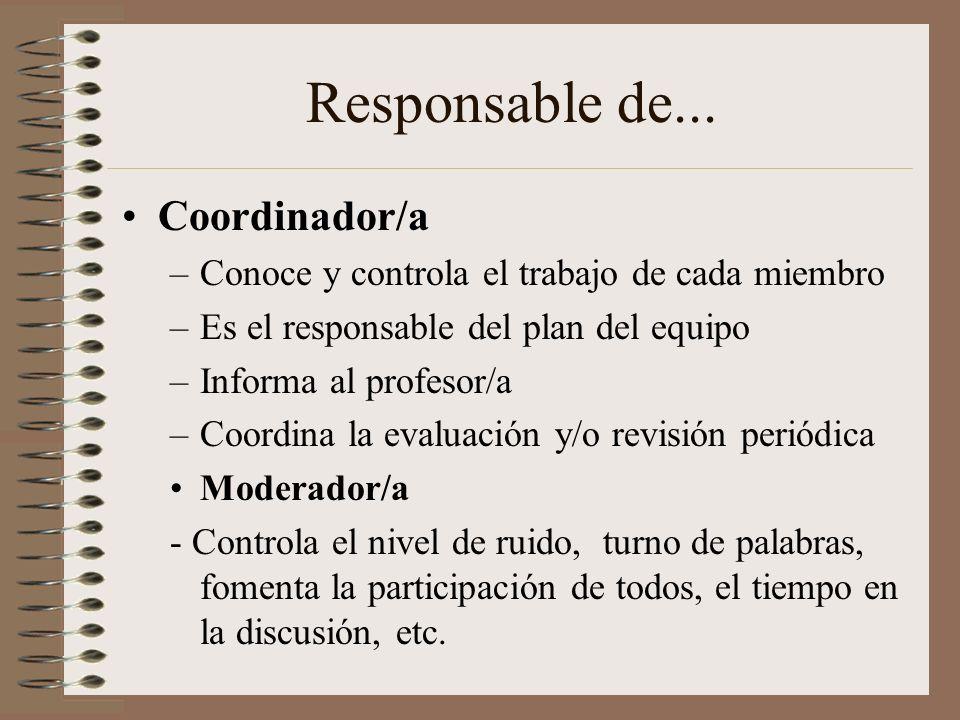 Responsable de... Coordinador/a
