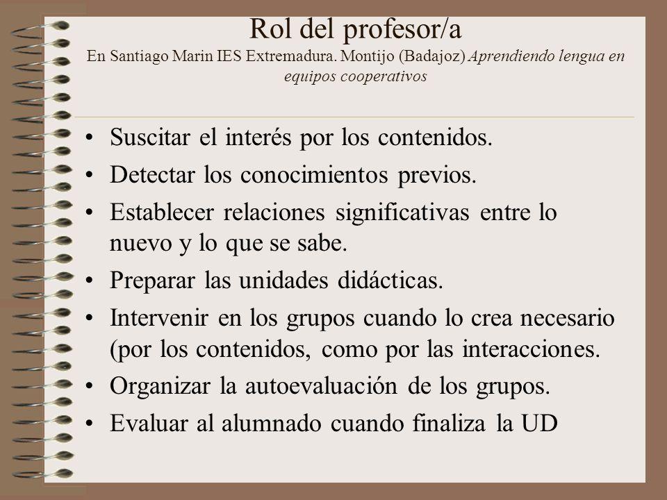 Rol del profesor/a En Santiago Marin IES Extremadura