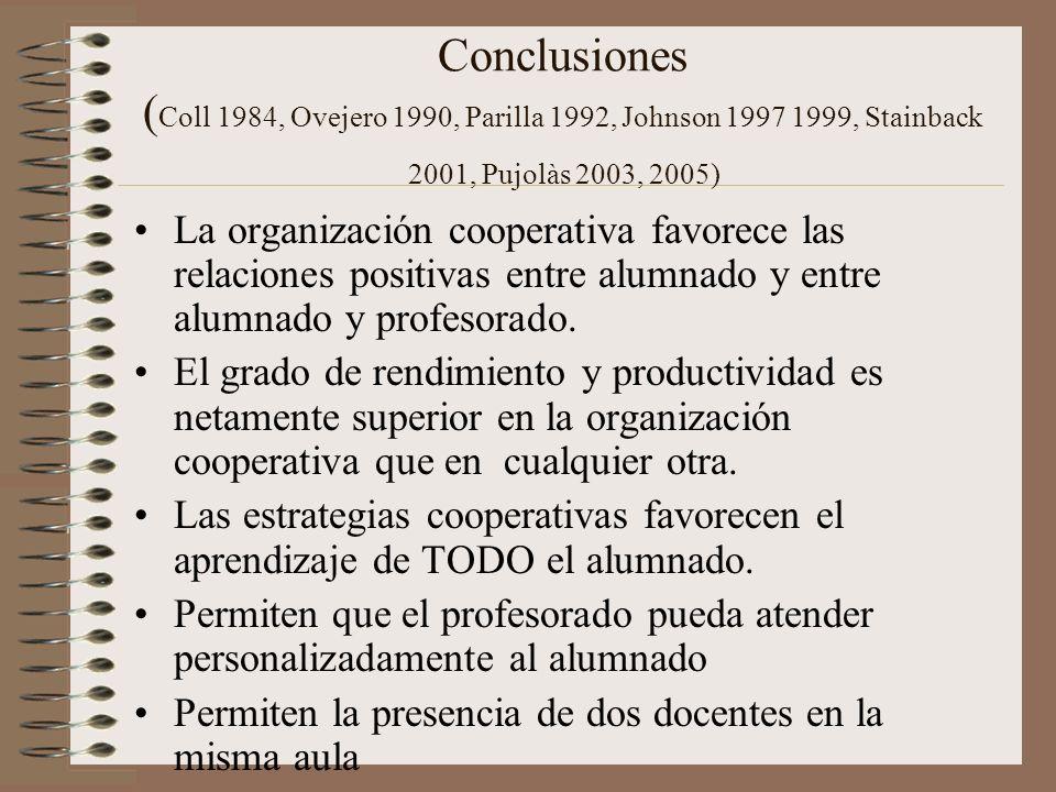 Conclusiones (Coll 1984, Ovejero 1990, Parilla 1992, Johnson 1997 1999, Stainback 2001, Pujolàs 2003, 2005)