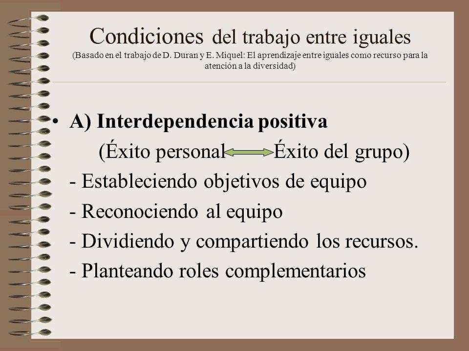 Condiciones del trabajo entre iguales (Basado en el trabajo de D