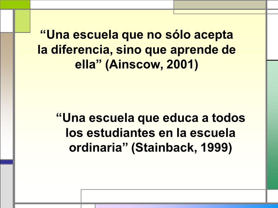 Una escuela que no sólo acepta la diferencia, sino que aprende de ella (Ainscow, 2001)