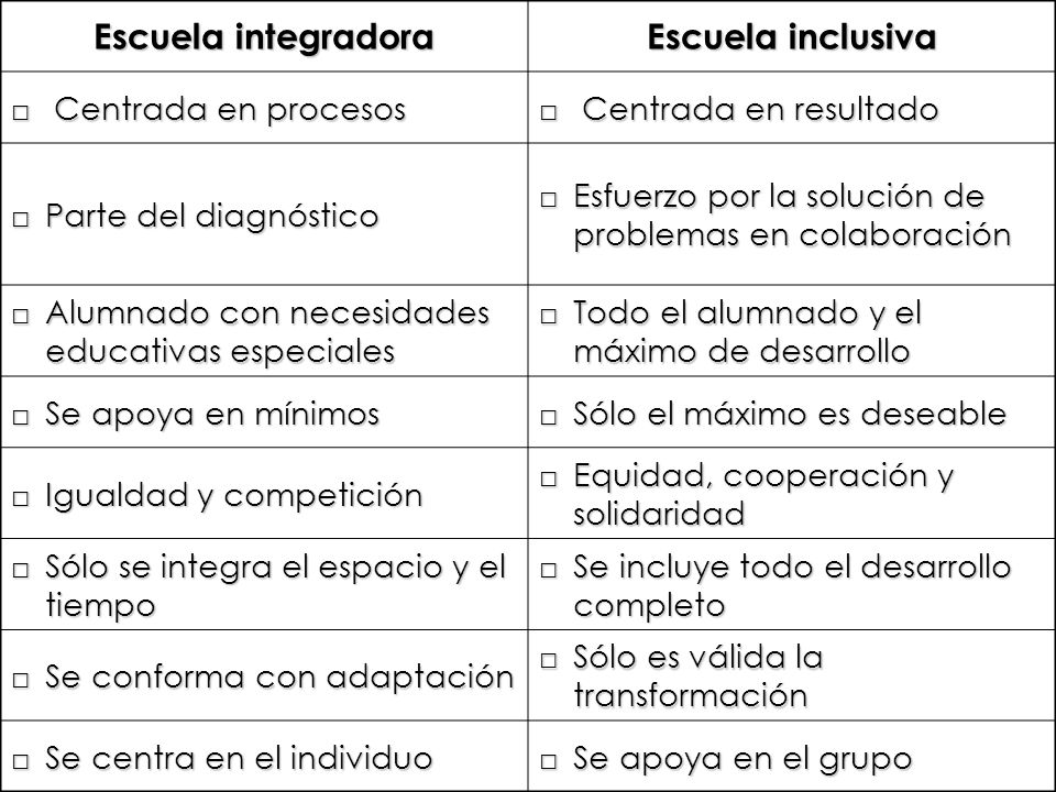 Escuela integradora Escuela inclusiva