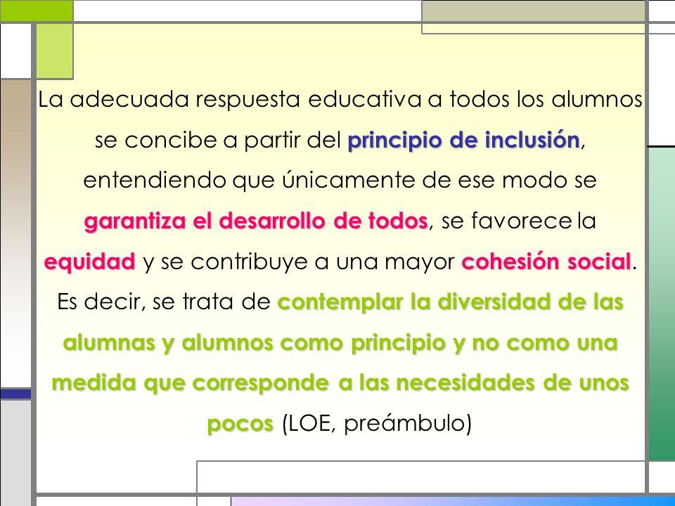 La adecuada respuesta educativa a todos los alumnos se concibe a partir del principio de inclusión, entendiendo que únicamente de ese modo se garantiza el desarrollo de todos, se favorece la equidad y se contribuye a una mayor cohesión social.