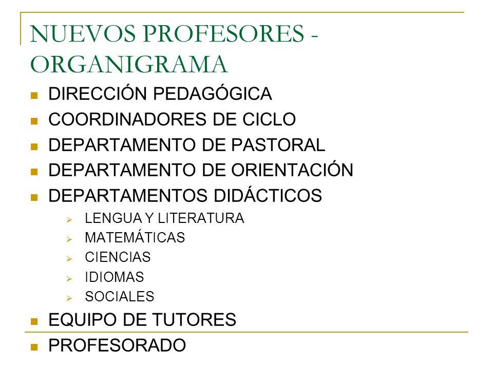 NUEVOS PROFESORES -ORGANIGRAMA