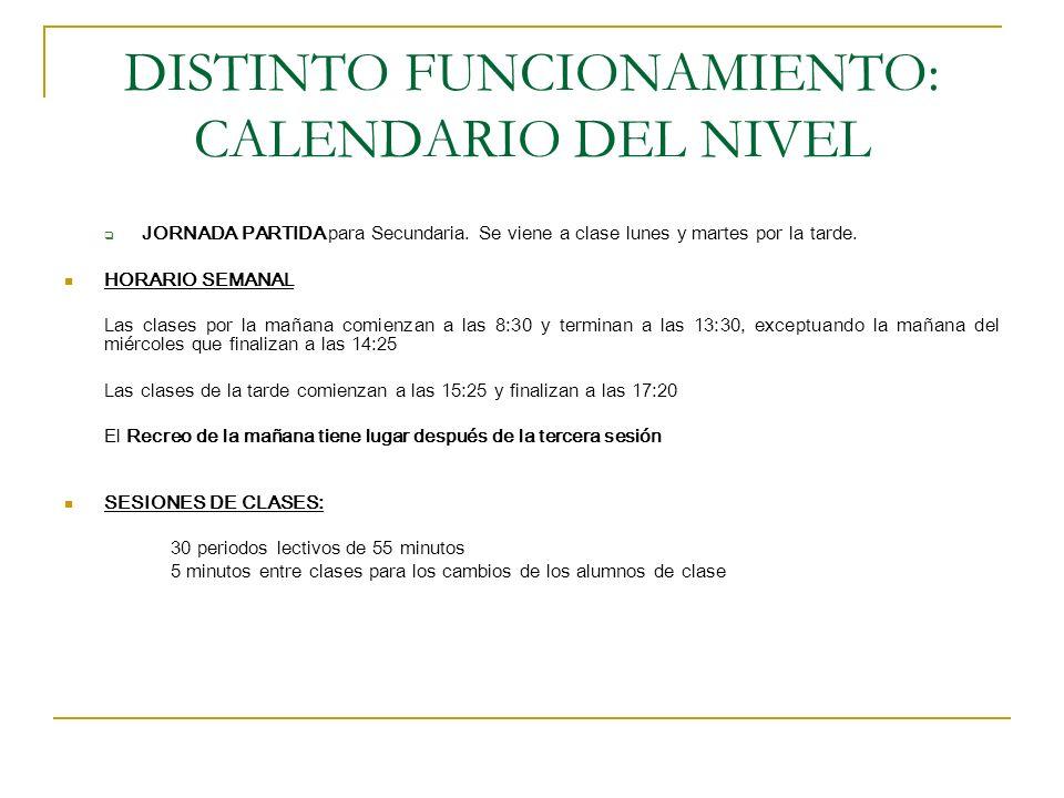 DISTINTO FUNCIONAMIENTO: CALENDARIO DEL NIVEL