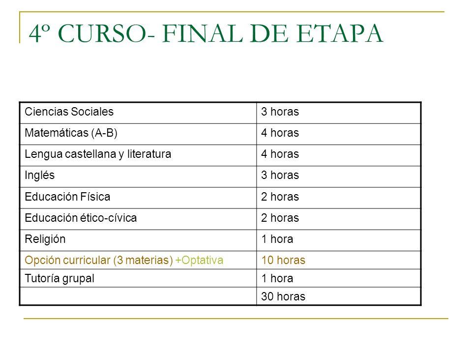 4º CURSO- FINAL DE ETAPA Ciencias Sociales 3 horas Matemáticas (A-B)
